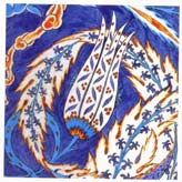 16th Century Iznik Tile with a Tulip in a Swirling Saz Leaf, Rustem Pasa Mosque, Istanbul
