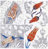 16th Century Iznik Tiles with Various Tulip Forms, Rustem Pasa Mosque, Istanbul